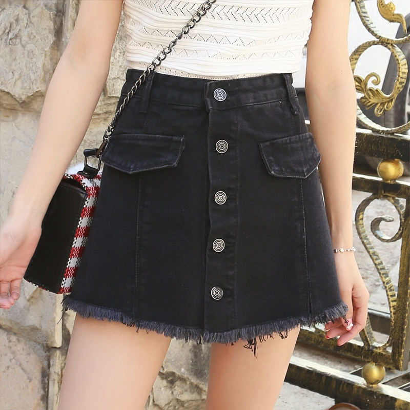 Women Summer High Waist Wide Leg Denim Shorts Skirts Fashion Hot Jeans Shorts For Juniors Sexy Raw Hem Denim Shorts A-Line Skirt