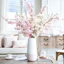 2pcs Artificial Silk Cherry Blossoms Plants Trees Branches Bridal Bouquet Home Hotel Wedding Decoration Fake Flower