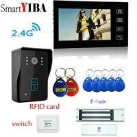 """Güvenlik ve Koruma'ten Video Interkom'de SmartYIBA 7 """"Kablosuz 2.4G Görüntülü Kapı Telefonu rfid kartlar Kilidini Interkom + Paslanmaz Çelik Elektronik Kilit Video Interkom Setleri"""