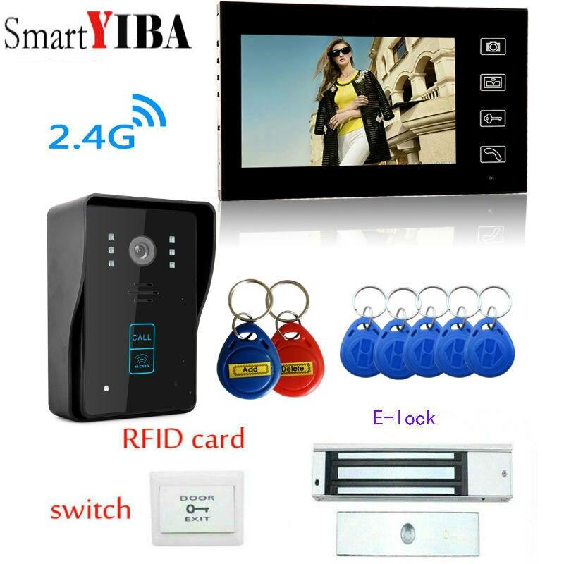 SmartYIBA 7Wireless 2.4G Video Door Phone RFID Cards Unlock Interphone+Stainless Steel Electronic Lock Video Intercom Kits