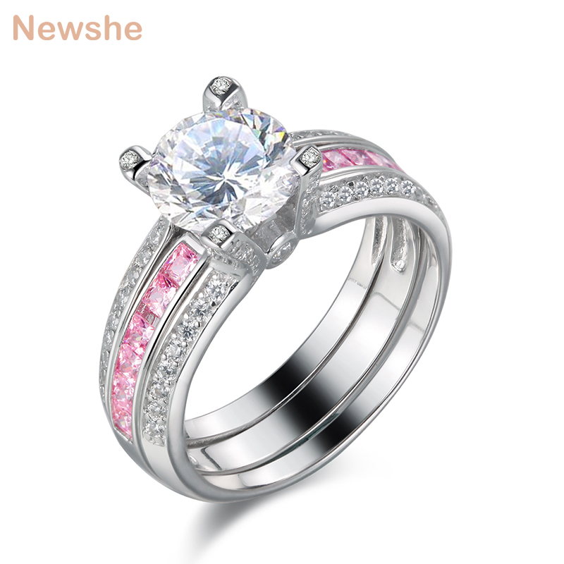 Newshe Wedding Engagement Ring Set For Women 2 Ct Multi Color Round Cut CZ Solid 925 Sterling Silver Fashionable Jewelry fashionable sleeveless cut out solid color skinny crop top for women