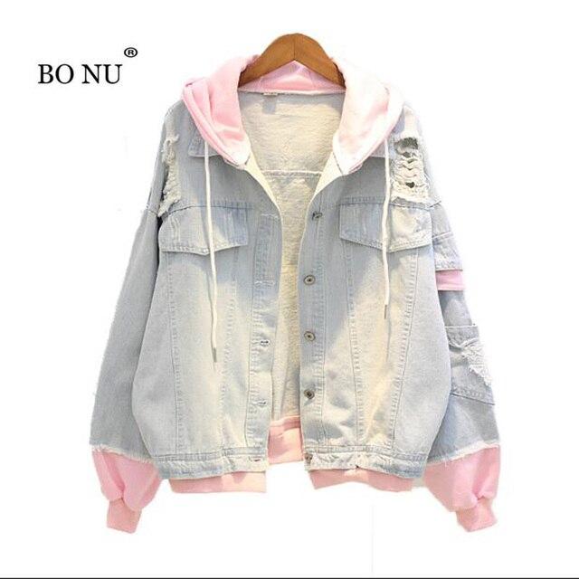 BONU אביב ברדס לנשים מזדמן BF ג 'ינס מעיל חורים בציר Harajuku מעיל loose Streetwear ינס טלאים