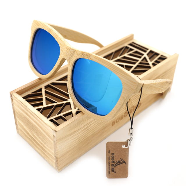 BOBO BIRD 6 color Polarized Bamboo Wood Sunglasses Women Men Mirror Coating Lenses Eyewear with Gift Wooden Box Vintage 2017