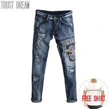 TRUST DREAM Europeans Designed Men Embroidered Eagle Ripped Hole Jean Casual Distressed Patchwork Slim Man Fashion Street Jeans