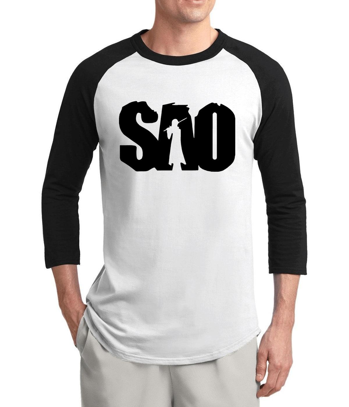 hot sale Anime Sword Art Online SAO 2017 new summer three quarter sleeve men t shirt 100% cotton high quality raglan t-shirt