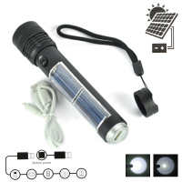 Super Bright 3W USB Solar ReCharging XPE LED Flashlight Work Light Mobile Power Outdoor Camping Lighting