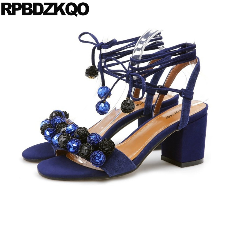 Pumps Embellished Ladies Strap Up Sandals Blue Sequin Stiletto Suede Women Shoes Paillette High Heels Nice Tie Flower Chunky elegant tie up and suede design pumps for women