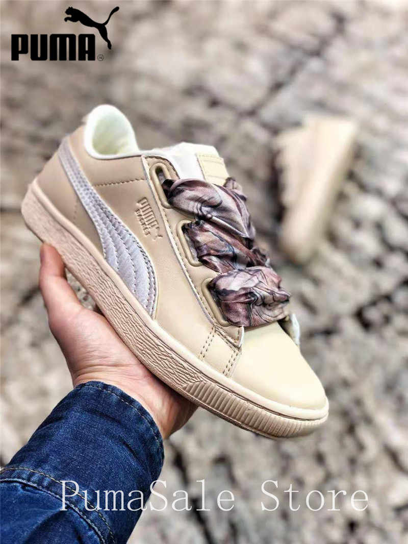 Detail Feedback Questions about New Arrival PUMA Basket Heart Mimicry Wn  Sneaker 367028 01 Silk Bow Women s Badminton Shoes Size EUR35.5 40 on ... ef716d544