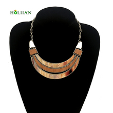 For women fashion wood bohemia necklaces&pendants brown maxi chokers vintage boho collar costume jewellery chocker accessories