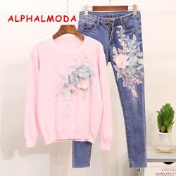 Alphalmoda Новый Вышивка пайетками 3D цветочный свитер + джинсовые зауженные джинсы Осенне-зимняя Дамская обувь модные 2 шт. комплекты S-XL
