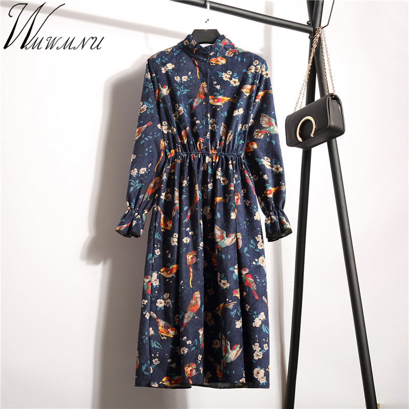 Wmwmnu Floral Vintage Autumn Winter Dress Women Casual Corduroy Long Sleeve print Dress Female Elastic waistline party dresses floral chiffon dress long sleeve