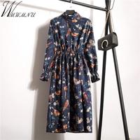 Wmwmnu Floral Vintage Autumn Winter Dress Women Casual Corduroy Long Sleeve Print Dress Female Elastic Waistline
