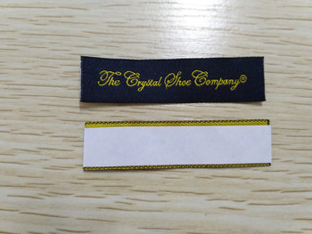 FREE SHIPPING 1000pcs/pack customized straight cut woven sticky label private brand logo shoe labels double-sided adhesive tags