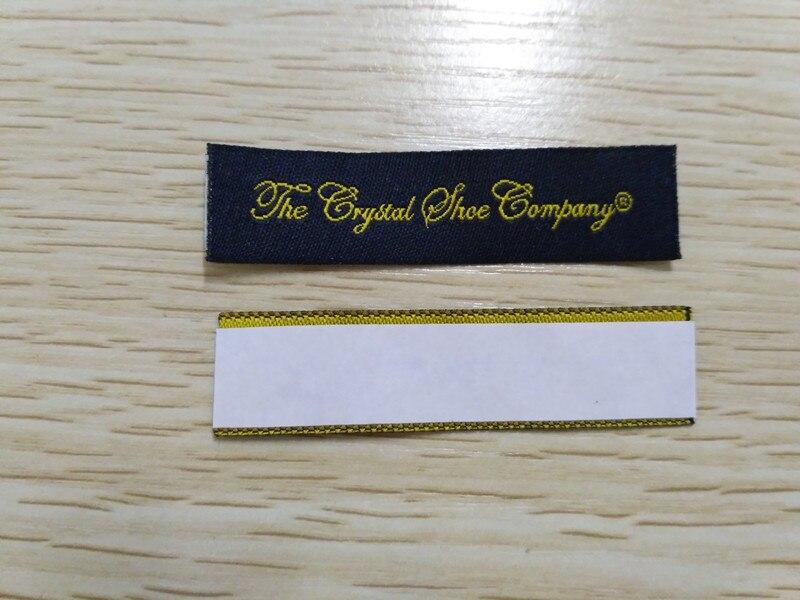 Livraison gratuite 1000 pcs/pack personnalisé coupe droite tissé étiquette collante marque privée logo chaussures étiquettes double face étiquettes adhésives