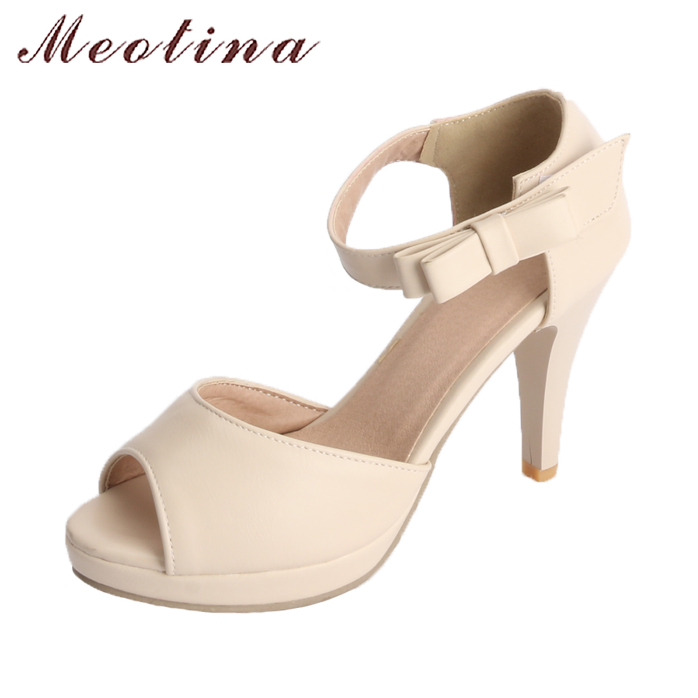 Meotina Platform Sandals Women Shoes Summer 2018 Sandals High Heels Wedding Shoes Bow Ankle Strap Shoes Spring Peep Toe Sandals