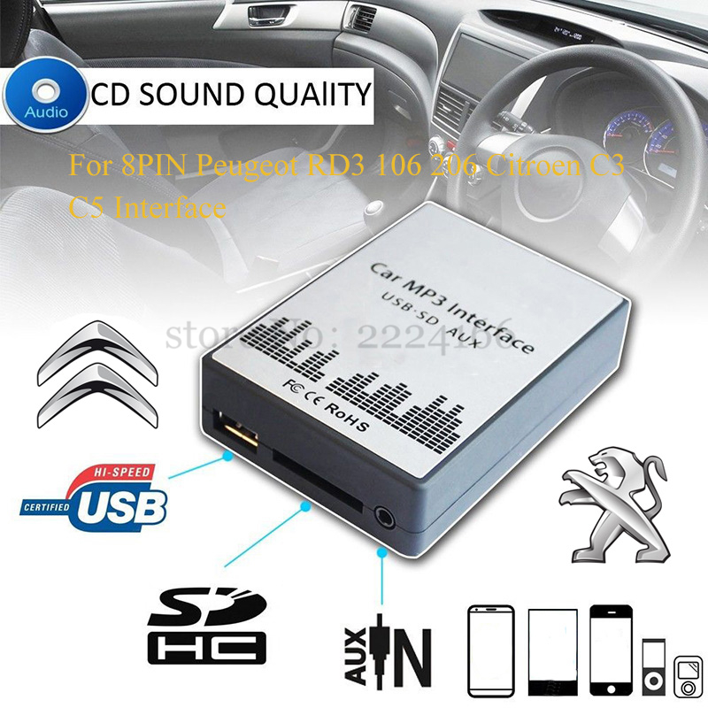 USB SD AUX Car MP3 Music Interface Car Player Adapter CD Machine Change for Peugeot 106 206 RD3 Citroen C3 C4 C5 8PIN Re-equip atreus 1pcs car auto trailer ring hook vehicle towing hanger for nissan qashqai citroen c4 c5 c3 chevrolet cruze aveo peugeot