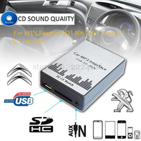 USB SD AUX Car MP3 Music Interface Player Adapter CD Machine Change For Peugeot 106 206