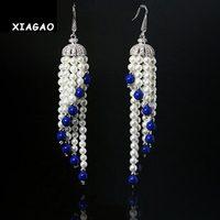 XIAGAO Dangling Tassel Shape White Gold Plated CZ Diamond Pave Long Chandelier Drop Pearl Earrings Jewelry