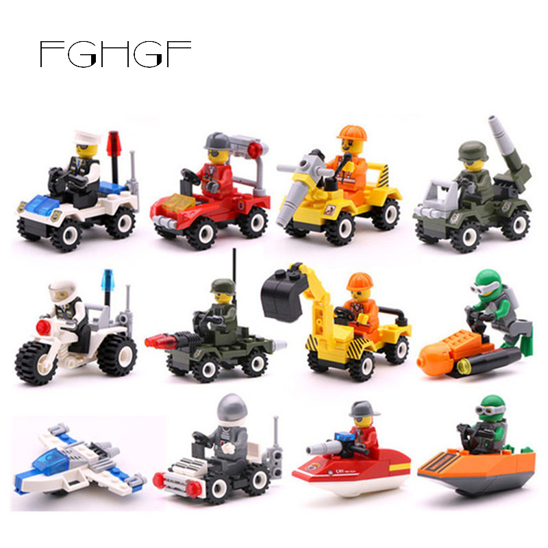 22Kinds Mini Transportation Block Fly Car Air Space Moto Car Truck Building Compatible Legoingly City Soliders Police Bricks