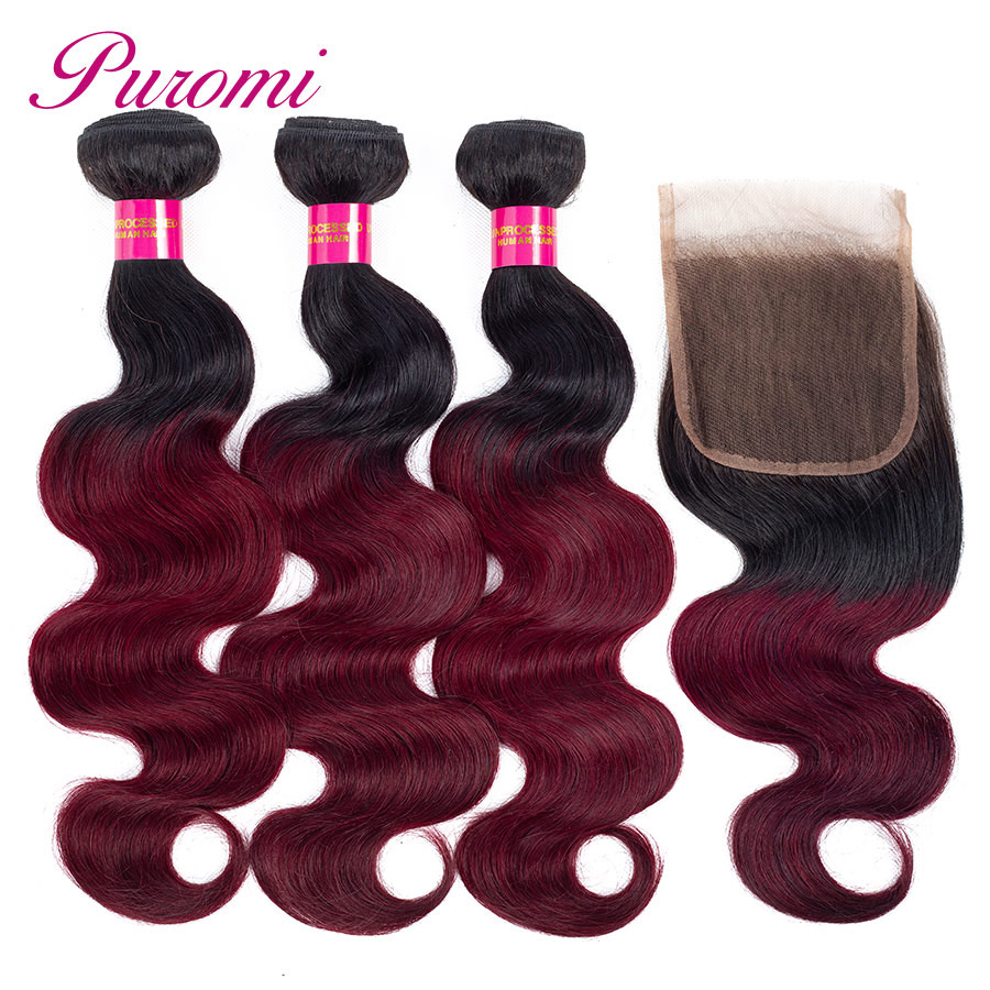 Puromi Brazillian Body Wave Hair With Lace Closure 1b 99j Ombre Human Hair 3 Bundles with