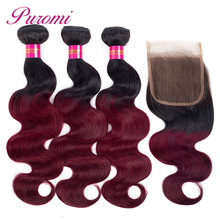 Puromi Brazillian Body Wave Hair With Lace Closure 1b/99j Ombre Human 3 Bundles with Non-remy Red