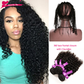 360 Lace Frontal With Bundle 7A Peruvian Curly Hair 360 Frontal With Bundles Top 360 Lace Frontal Closure With Bundles