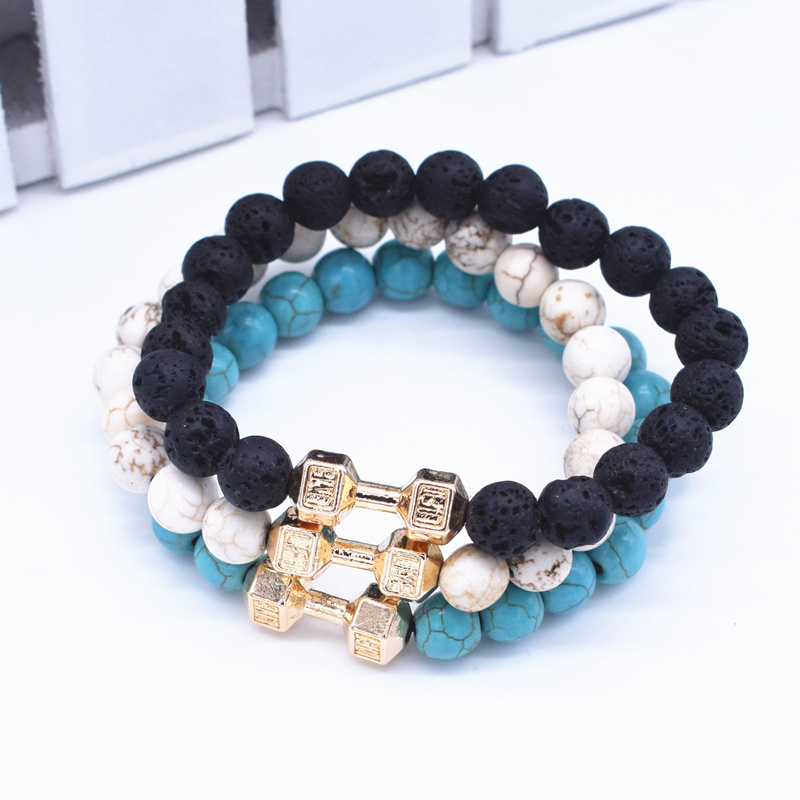 Finest 1 Set 3 Color Natural Lava Stone Beads Bracelet Men's Fashion  BA17