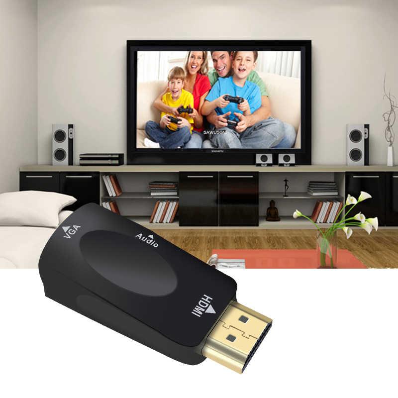 HDMI untuk VGA Adaptor Kabel Audio Converter untuk Laki-laki Ke Perempuan Dukungan HD 1080P untuk Xbox360 PS3 PS4 PC Laptop TV Box Proyektor