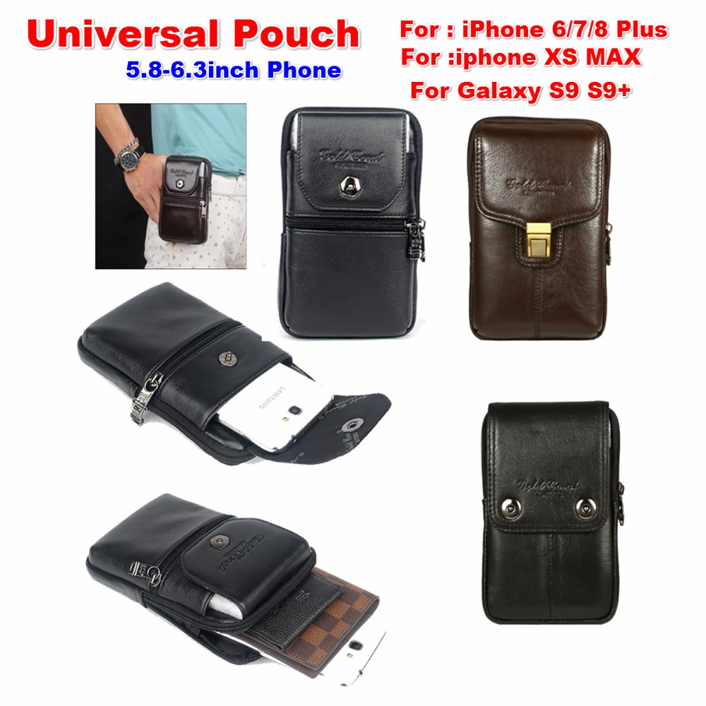 For Mate 20 Pro Waist Packs , Genuine Leather Belt Clip Pouch Waist Packs Purse For Huawei Honor 10 Lite Mate 10 9 Free Shipping