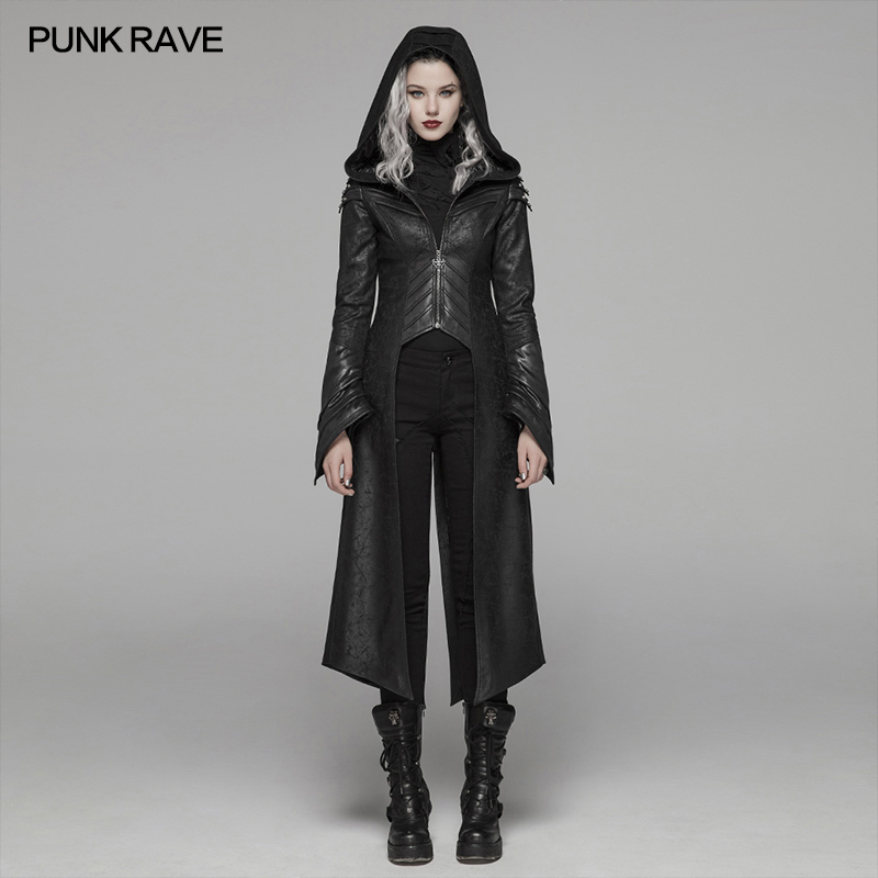 PUNK RAVE Women's Punk Forked Tail Faux Leather Long Jacket Goth armor Slices Party Club Stage Performance Women Coat