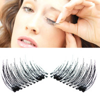 Lmlly 4pcs Pair 3D Magnetic False Eyelashes Natural Individual Fake Eyelashes No Glue Magnetic Cosmetic Synthetic