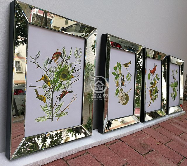 Fashion Wall Mirrored Frames Modern Combination Photo Frame Wall Mural Wall Decorative Glass Mirror Frame Picture Frame W M0013