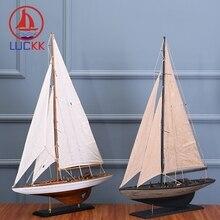 LUCKK 60CM American DIY Wooden Model Ships Home Interior 2 Color Vintage Decoration Crafts Building AssemblingToys Sailing