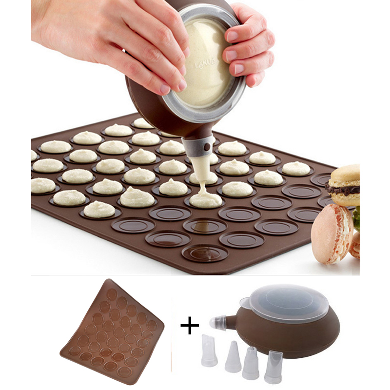 LIXYMO macarons sets (30-cavity Silicone mat+ 1 cream dispenser with 4 nozzles) Macaron maker baking moulds set tools Oven use