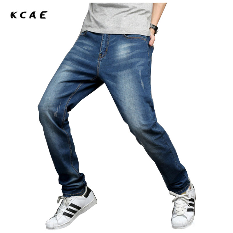 Summer thin section Jeans men Loose  Straight Long pants add Fat to increase the Size of the fat legs thick Fat guy pan