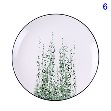 1 Pcs Tropical Plant Green Leaves Round Dinner Plate for Dessert Fruit Lunch Hot Sale