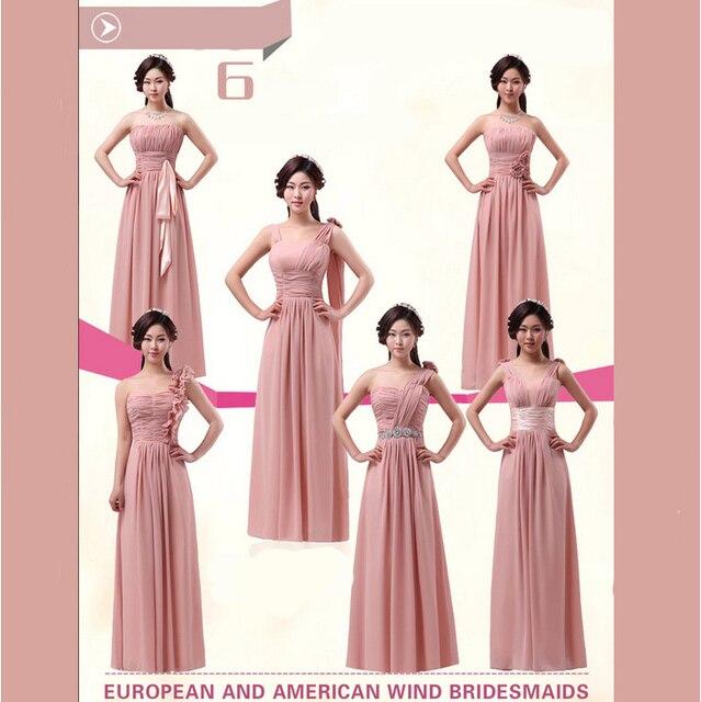bridesmaid dress modest blush pink chiffon different necklines ...