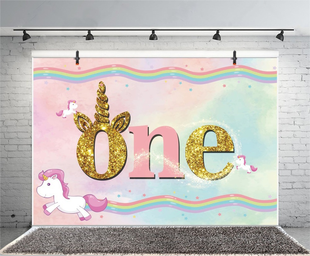 Laeacco Unicorn Party Rainbow Happy Baby 1st Birthday Gold Poster Portrait Photography Backgrounds Photo Backdrops Photo Studio in Background from Consumer Electronics
