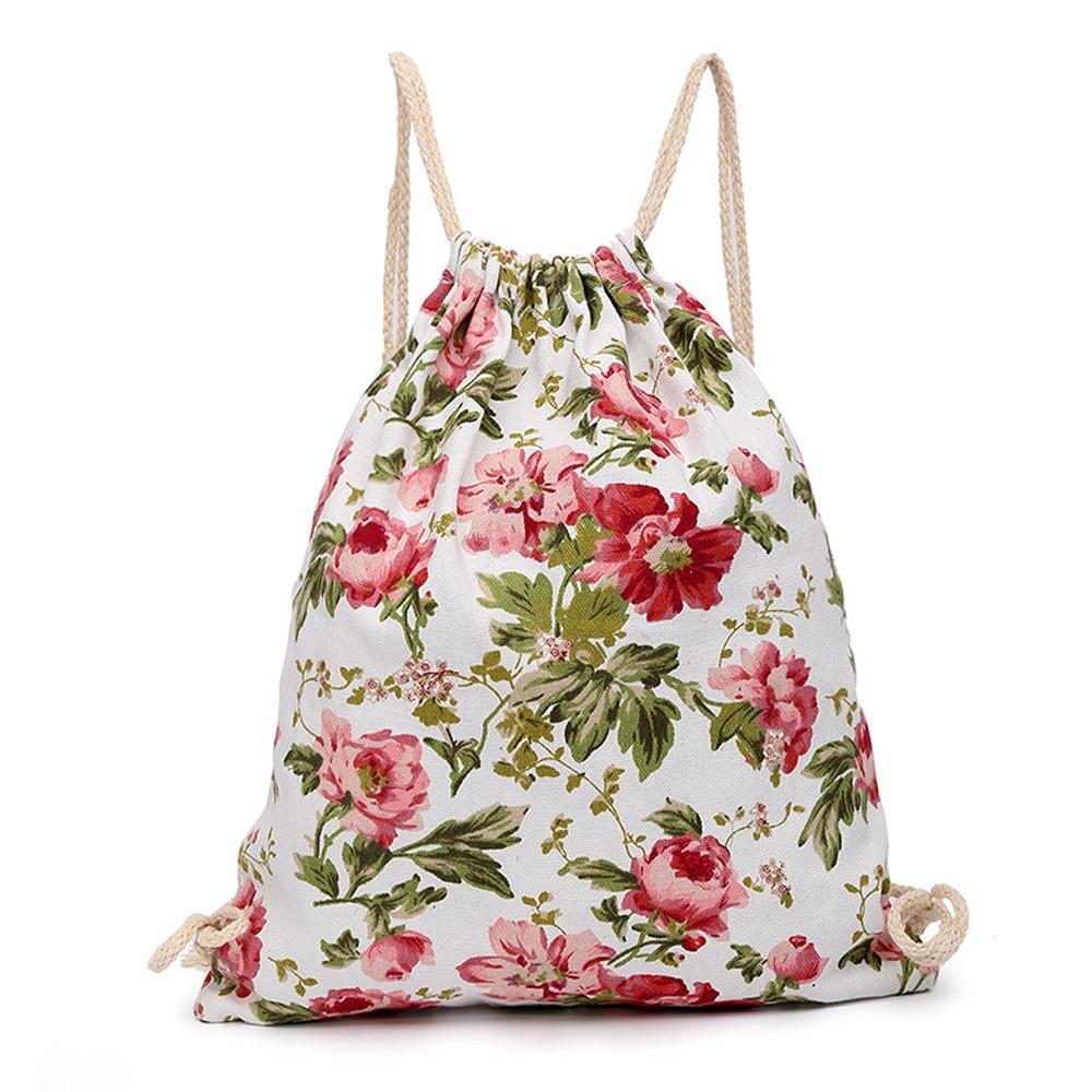 2018 девушки Drawsting Сумки Печать холст Drawst висячий мешок спорт пляж путешествия открытый рюкзак сумка квадратная упаковка