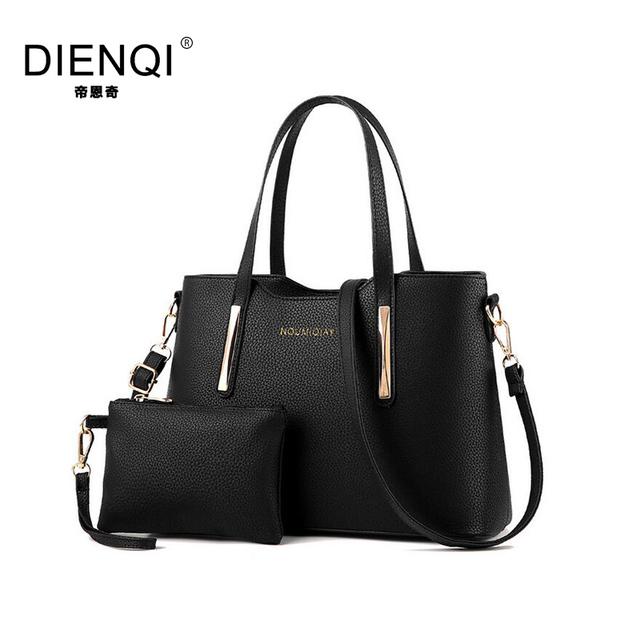 DIENQI Famous Brand Women Bag Top-Handle Bags 2017 Fashion Women Messenger Bags Handbag Set PU Leather Composite Bag Solid Color