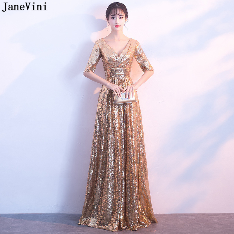 JaneVini Rose Gold Sequined Long   Bridesmaid     Dresses   for Women Half Sleeves Sexy V Neck A Line Formal Party Gowns Vestitini Donna