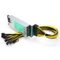 Mining Power Supply Kit 1200W PSU Server, Breakout Board, 10pcs PCIe 6Pin Cables.