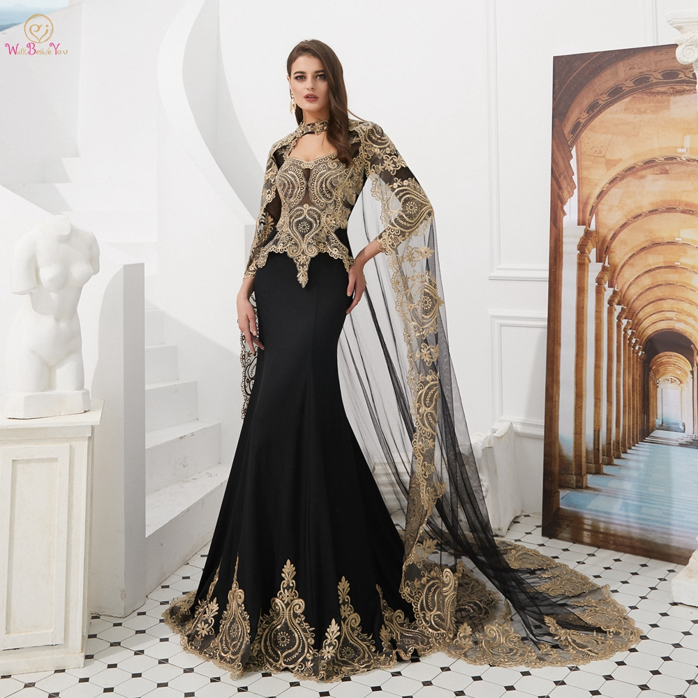 Black   Prom     Dresses   Muslim with Cape Jersey Gold Lace Appliques Evening Gowns Long Mermaid Long Sleeves V-neck Crystal Formal