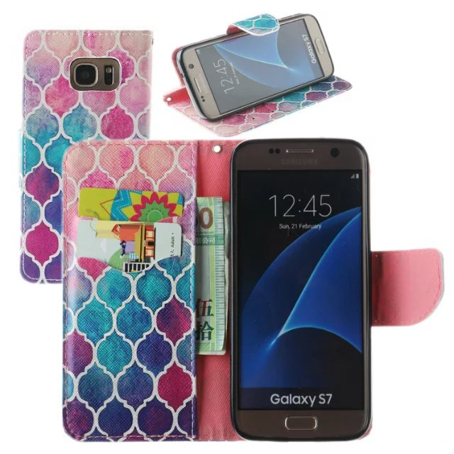 timeless design 5b126 a1237 US $9.9 |Moroccan Pattern Mermaid wallet Phone Case For samsung s8 s8 plus  hot selling high quality -in Flip Cases from Cellphones & ...