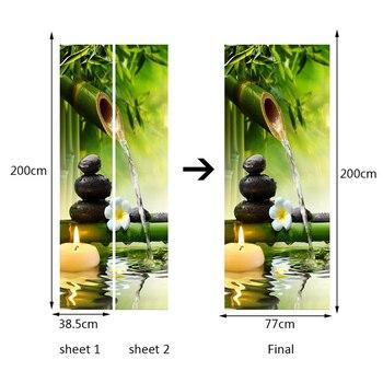 DIY 3D Verde Bambú Paisaje Puerta Pegatinas Creativo PVC Autoadhesivo Sala De Estar Puerta Mural Pared Pegatina Póster Foto Papel Tapiz