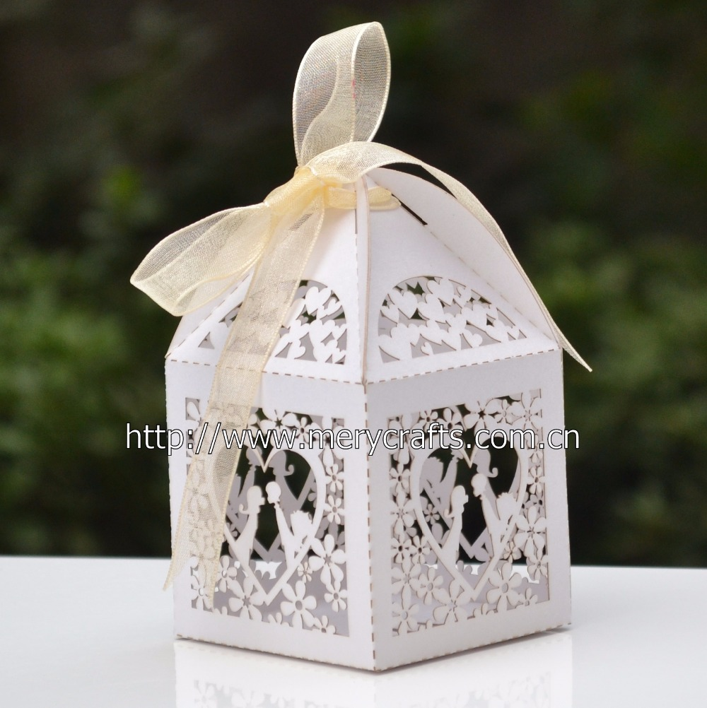 200pcs/lot laser cut bride and groom wedding candy chocolate boxes ...