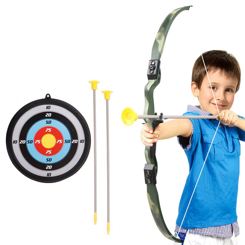 Childrens Toys Archery Bow And Arrow Target Paper Dart Board Shooting Toy Outdoor Sports