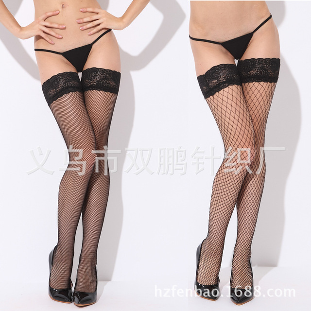 Ms fishnet stockings silica gel thin opaque black silk stockings sexy stockings appeal China open 5813 #