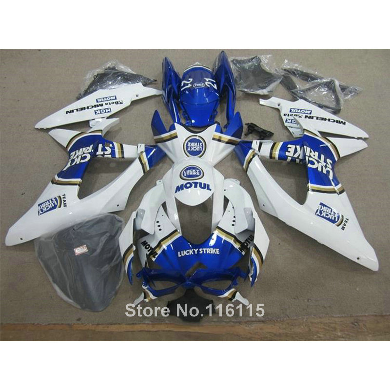 Injection ABS fairing kit for SUZUKI K8 GSXR 600 750 2008 2009 2010 blue LUCKY STRIKE GSXR600 GSXR750 08 09 10 fairings X514