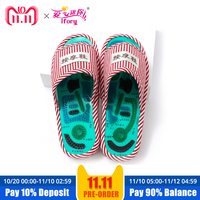 Ifory Women Reflexology Foot Massage Slippers Magnetic Acupoint Slipper Massage Relaxation Pain Relief Health Foot Care Shoes